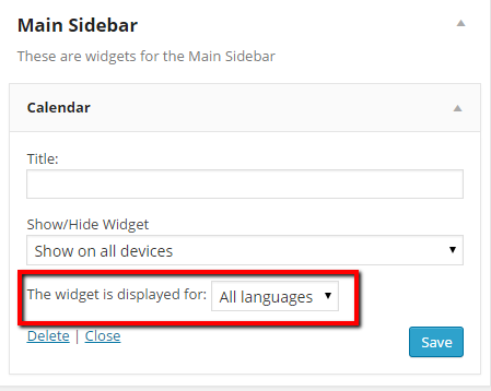 Widget by Language